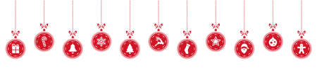 rows: christmas ball elements hanging row red isolated background