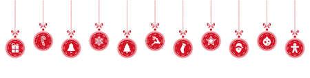 hilera: elementos de bolas de navidad que cuelgan fila fondo rojo aislado Vectores
