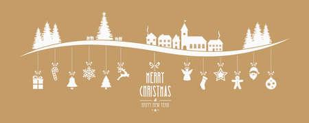 casita de dulces: paisaje de invierno de Navidad colgando fondo ornamento oro
