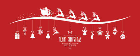 santa claus sleigh christmas elements hanging red background