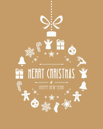 cartoon present: christmas ball ornaments gold background