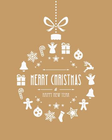 Weihnachtskugel Ornamente Gold Hintergrund Illustration