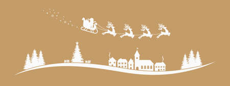 new house: santa claus sleigh reindeer fly gold landscape