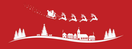 sleigh: santa claus sleigh reindeer fly red landscape