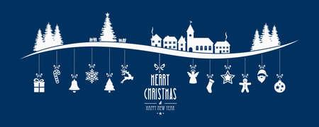 christmas blue: winter landscape christmas ornament hanging blue background Illustration