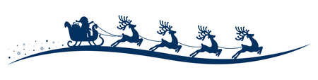 cartoon santa: santa claus reindeer sleigh isolated background