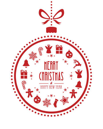 christmas ball ornaments red isolated background