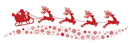 cartoon santa: santa sleigh reindeer flying snowflakes red silhouette