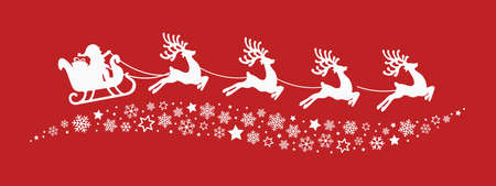 santa sleigh reindeer flying snowflakes stars red background Illustration