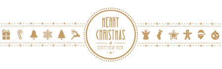christmas banner: christmas ornament banner gold isolated background