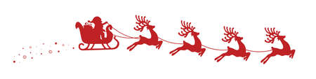 santa sleigh: santa claus reindeer sleigh stars isolated background