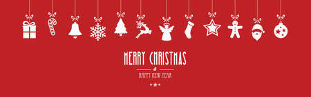 hangings: merry christmas ornaments hanging red background Illustration