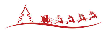 christmas tree santa claus reindeer sleigh red