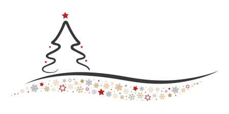 lijntekening: Kerstboom lijn Stars