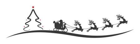 christmas tree santa claus reindeer sleigh red stars