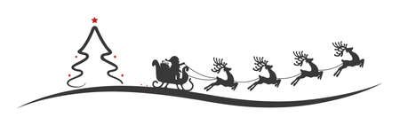 Kerstboom kerstman rendierslee rode sterren Stockfoto - 48493539