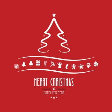 christmas tree ornament red background Çizim