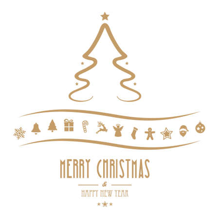 merry christmas tree ornament gold isolated background
