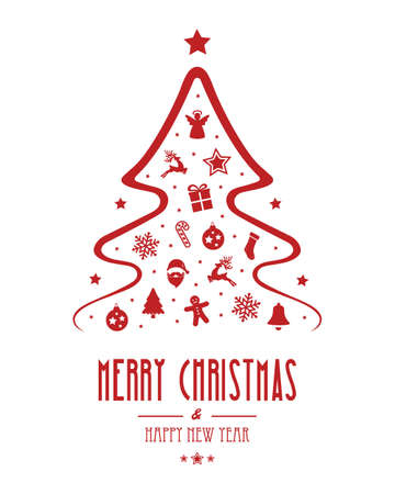 christmas tree ornament red isolated background Illustration