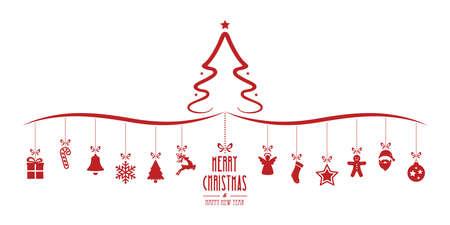 tree isolated: christmas tree hanging decoration elements isolated background