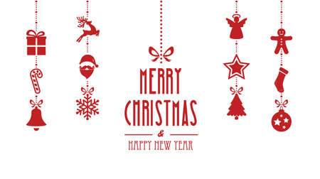 hangings: merry christmas ornaments hanging red isolated background