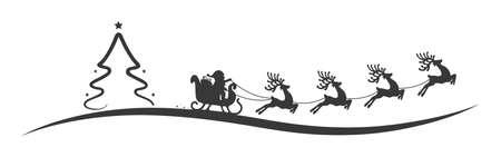 christmas tree santa claus reindeer sleigh black