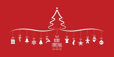 decoration elements: christmas tree hanging decoration elements red background