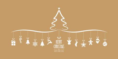 christmas tree hanging decoration elements gold background