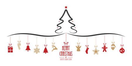 decoration elements: christmas tree hanging decoration elements isolated background
