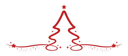 christmas tree drawing line red stars