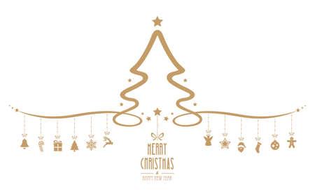 kerstboom hangen decoratie-elementen geïsoleerd achtergrond