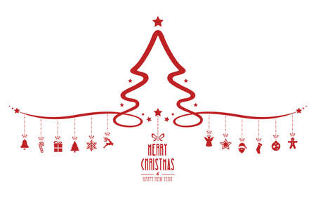 christmas tree hanging decoration elements isolated background