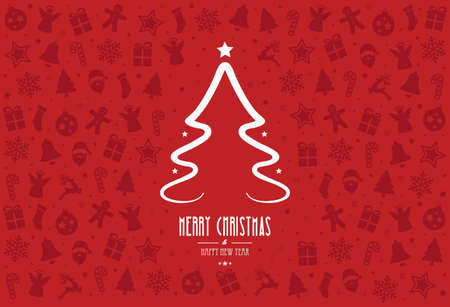 decoration elements: christmas tree pattern decoration elements red background