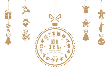 christmas bauble ornaments gold isolated background 일러스트