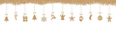 decoration elements: christmas decoration elements hanging snowflakes isolated background