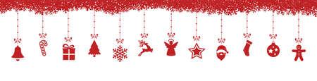christmas decoration elements hanging snowflakes isolated background