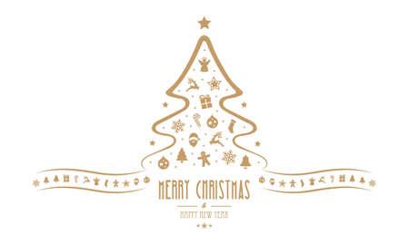 decoration elements: christmas tree decoration elements isolated background