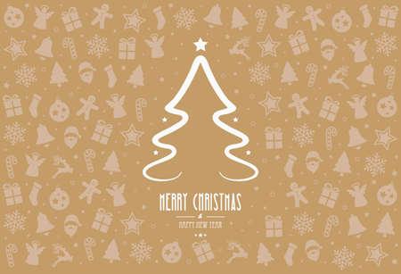 decoration elements: christmas tree pattern decoration elements gold background