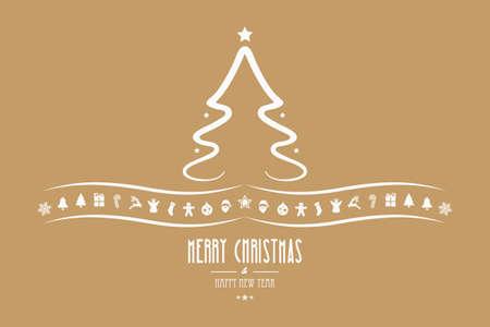 decoration elements: christmas tree decoration elements gold background