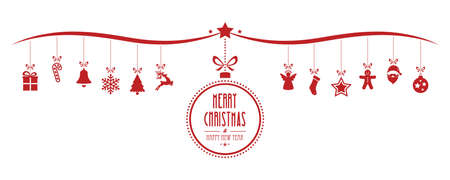 merry christmas bauble decoration elements red isolated background