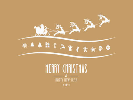 santa sleigh: merry christmas elements santa sleigh gold background