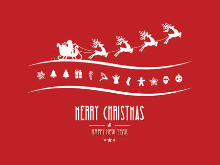 merry: merry christmas elements santa sleigh red background