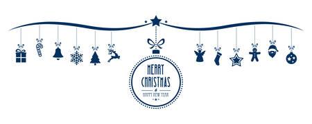 moños navideños: Feliz Navidad elementos de decoración de la chuchería de fondo azul aislado Vectores