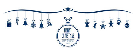 Wesołych świąt elementy dekoracji cacko niebieskim tle pojedyncze
