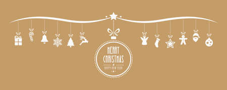 gold christmas background: merry christmas bauble decoration elements gold background