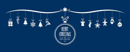 메리 크리스마스 bauble 장식 요소 파란색 배경 일러스트