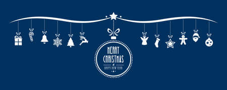 merry christmas bauble decoration elements blue background