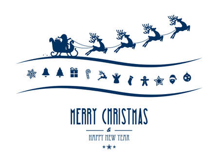 santa sleigh: merry christmas elements santa sleigh isolated background