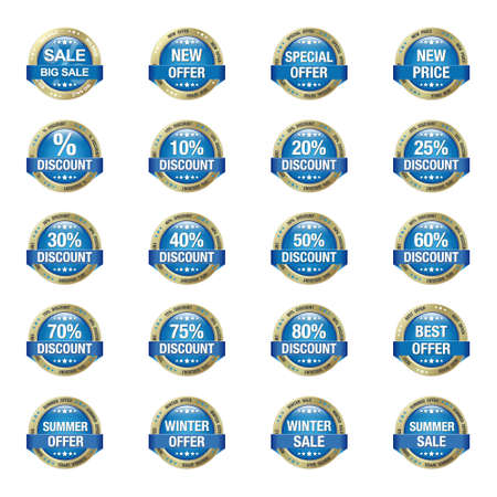 discount buttons: Blue Gold Sale Discount Buttons