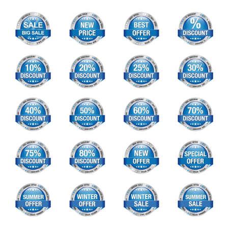 discount buttons: Blue Silver Sale Discount Buttons